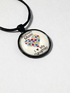 Autism mom necklace, I love my daughter, personalize necklace, autism awareness jewelry, autism pendant, puzzle piece necklace, autism gift