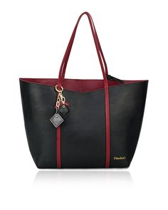 Cessta -Cabernet/Midnight Black  Product # [H0001.1]    Our Cessta Tote is the bag you would want to have in your wardrobe. Is like having two handbags and the best part is that you only pay for one! Enjoy this beautiful bag in Midnight Black or Cabernet red genuine leather, easy to flip for a very classy and clean look plus a convenient removable inside pouch for comfort. Accented with our ClaudiaG leather drops.