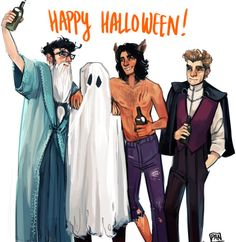 Marauders halloween party: James is dressed as Dumbledore, Peter is a ghost, Sirius is a werewolf (haha), and Remus as Count Dracula. | artist: ArtofPan