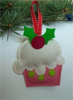 Wool Felt Pink Cupcake Christmas Ornament