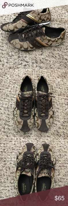 Coach sneakers Women's Coach brown/gold sneakers. New without box - never worn! Perfect condition! Coach Shoes Sneakers