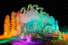 Transforming an intricate ice sculpture with splashes of bold uplighting and colors created a beautiful display. Social Events, Corporate Events, Fairbanks Alaska, Ice Art, Ice Sculptures, Event Marketing, All Nature, Fire And Ice, Customized Gifts