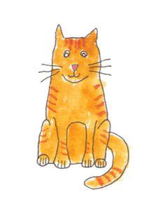 Ginger Cat Print / Orange Cat Watercolor Painting / by mittensart, $18.00