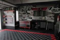 Here are some of our favorite customer installations of RaceDeck Garage Flooring. See the coolest garages on the block™ here. Garage Tools, Garage Shop, Garage Plans, Garage Workshop, Car Garage, Garage Parking, Diy Workshop, Garage Organization, Garage Storage