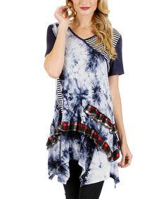 Another great find on #zulily! Blue & White Tie-Dye Patchwork Handkerchief Tunic #zulilyfinds