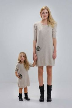 Matching Precious Oatmeal Dresses