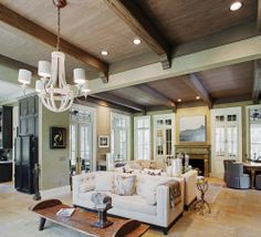 Gorgeous exposed beams in the home Van Horne and Lee Spinks on Spring Island, SC. Photo by Richard Leo Johnson