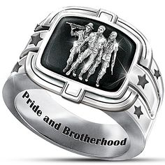 Bradford Exchange Men's Ring: Brotherhood of Veterans Men's Jewelry Rings, Fine Jewelry, Jewellery, Star Trek Ring, Next Clothes, Stainless Steel Rings, Stylish Jewelry, Black Onyx, Bracelets For Men