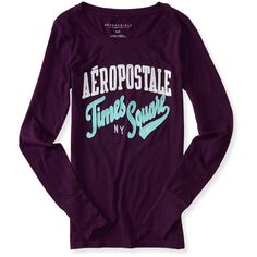 Aeropostale Long Sleeve Aéropostale Times Square Graphic T ($20) ❤ liked on Polyvore featuring smokey eggplant and aéropostale