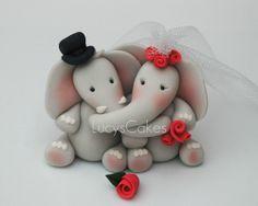 elephant bride and groom wedding cake topper