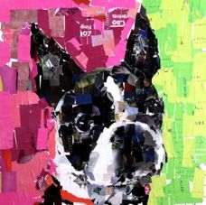 artist samuel price paper collage dog portraits.... Been researching dog portraits and collages for an art camp I'm leading this summer and this artist is one of my favorites.