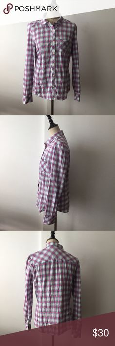 💥$12 TODAY💥 pink & blue plaid button down Has a wrinkled look to it. Bought at Nordstrom. Comes with an extra button as seen in photo. One pocket in the chest area. Buttons on the sleeve so the arms can be rolled or unrolled. Pit to pit approx 18. Length from shoulder approx 25 Caslon Tops Button Down Shirts
