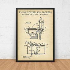 Bathroom Poster, Flush System For Toilets Patent Art Printable, Digital Download Blueprint Art, Toilet Art Print, Vintage Bathroom Invention