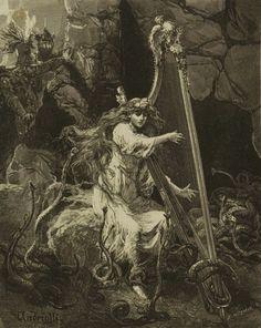 Michał Elwiro Andriolli - Illustration for 'Lilla Weneda' Fantasy Kunst, Dark Fantasy Art, Dark Art, Illustrations, Illustration Art, Goth Art, Arte Horror, Great Paintings, Traditional Paintings