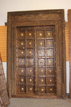 This is an amazing Elegant Royal Antique Indian doors with Frame are made in extremely strong teak wood with an old world patina of washed wood, the iron straps add rustic character and the grounding element. Main Entrance Door Design, Wooden Front Door Design, Double Door Design, Home Entrance Decor, Front Design, Wood Entry Doors, Wooden Doors, Indian Doors, Pooja Room Door Design