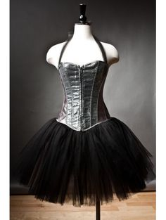 Custom Size silver and black Burlesque sequin tutu corset prom dress Gothic Corset Dresses, Burlesque Corset, Gothic Outfits, Silver Sequin Dress, Tulle, Short Prom, Prom Party Dresses, Dresses For Teens, Ball Gowns
