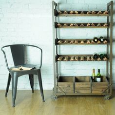 instrument WAREHOUSE wine rack with shelves x x cm) light rustic stain colour. 3 removable wooden crates,space for 40 horizontal bottles. Pine wood and steel. Wine Rack Shelf, Wine Rack Storage, Wood Wine Racks, Industrial Wine Racks, Industrial Living, Vintage Industrial, Reclaimed Wood Side Table, Wine Rack Design, Urban Rustic