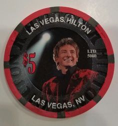 Barry Manilow $5 Casino Chip Las Vegas Hilton Music & Passion Red Velvet Jacket