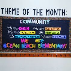 Theme of the Month board: Community 💖💛💚💙💜 I love my little school community! 😍 Board inspiration from Kraus Math Counselor Bulletin Boards, Elementary Bulletin Boards, Counselor Office, Elementary School Counselor, Classroom Bulletin Boards, School Counseling, Elementary Schools, Classroom Crafts, School Classroom