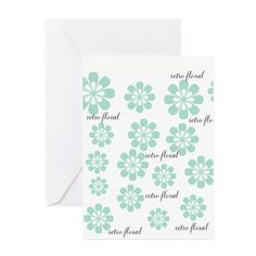 Retro Floral Fashion Mint Green White Pattern Greeting Card on CafePress.com