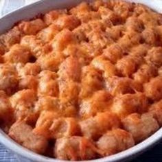 Tater Tot Casserole. Made this tonight (substituted ground turkey for ground beef) & it was a huge hit! Will make again.