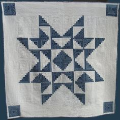 Hand-Quilted Quilt, Indigo fabric, log cabin star on Etsy, $495.00