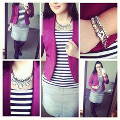 Casual chic. Stripes, denim, and blazer. Modest fashion.
