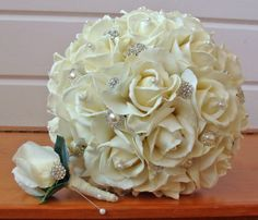 Silk Flower Bridal Bouquet Real Touch Roses & Rhinestones in Ivory and Real Touch Rose Groom's Boutonniere - Choose Your Color. $250.00, via Etsy.