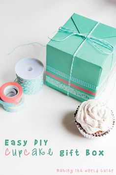 DIY Cupcake Gift Box using We R Memory Keepers Punch Board and Washi Tape Dispenser. LOVE both of these products! How fun!
