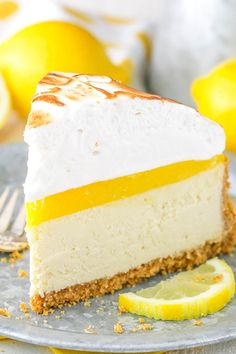 This Lemon Meringue Cheesecake is made with a buttery graham cracker crust, creamy cheesecake, tart lemon curd and toasted meringue!