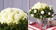 Art floral : un bouquet de roses blanches et buis pour Noël