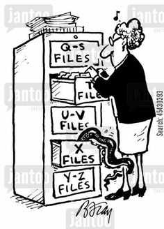curiosities cartoon humor: Woman going through files being grabbed by weird creature in X Files.