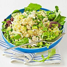 Crab-and-Quinoa Salad with Citrus Vinaigrette: In a medium bowl, whisk together 1 tablespoon grapefruit juice, 2 teaspoons olive oil, 1 teaspoon Dijon mustard, and salt and pepper to taste. Toss with 1/2 cup cooled cooked quinoa, 2 ounces canned crab meat, and 1/4 avocado, chopped. Serve over 2 cups mixed salad greens and sprinkle with 1 tablespoon chopped chives. 400 Calories