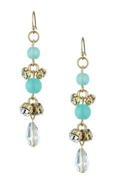 Danielle Stevens  Dangling Chalcedony and Clear Glass Earrings