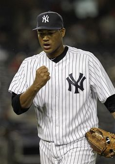GAME 29: Tuesday, May 8, 2012 - New York Yankees starting pitcher Ivan Nova reacts coming off the mound in the seventh inning after striking out Tampa Bay Rays batter Jose Molina during their baseball game at Yankee Stadium in New York. (AP Photo/Kathy Willens)