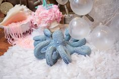 Octopus decor from Pastel Mermaid Birthday Party at Kara's Party Ideas. See the ocean of details at karaspartyideas.com!