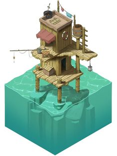 Stephan& Sketchbook: Strange Water Home, isometric concept art/illustration - Game Art Isometric Art, Isometric Design, Pixel Art, Game Art, Japon Illustration, Landscape Illustration, 8bit Art, Modelos 3d, Art Anime