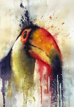 Watercolor toucan, bird, colors, painting, watercolours, splash, brush, watercolour, orange, yellow, green, colorful