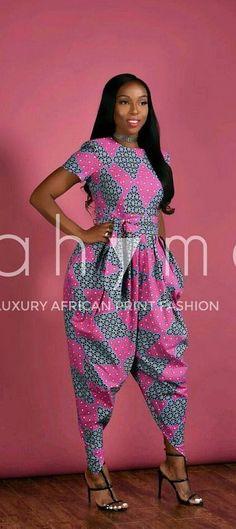 Tendance salopette 2017  Pink Harem Jumpsuit- African print clothing. African print short sleeves Harem j