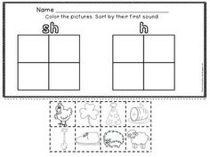 DIGRAPH SH : SORTING PICTURES OF SH WORDS - Digraph Worksheets: Students use glue and scissors to sort the fun, kid-friendly clipart based on their first or last sound.