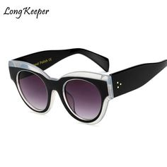 #FASHION #NEW Long Keeper Wholesale Retro Cat Eye Sunglasses Women Men Big Black Frame 2018 Hot Sale Cheap Sun Glasses Female UV400 AM6876