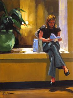 Karen Jurick, A young woman reading a city guide in a hotel lobby in Chicago