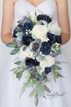 Navy blue and dusty blue cascading brides bouquet all of our flowers are cheap and artificial and look amazing! Blue Flowers Bouquet, Bridal Bouquet Blue, Cascading Wedding Bouquets, Navy Wedding Flowers, Navy Blue Flowers, Bride Flowers, Bride Bouquets, Flower Bouquet Wedding, Navy Bouquet