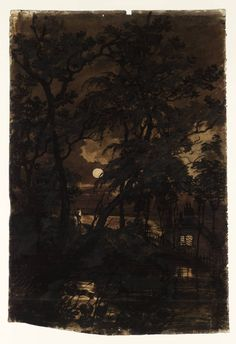 A Transparency: The Moon Seen through Trees.  Joseph Mallord William Turner. Watercolour on paper, 1796–7.