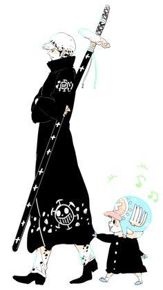 Trafalgar D. Water Law and Tony Tony Chopper One piece One Piece Anime, Sanji One Piece, One Piece Comic, One Piece Fanart, One Piece Pictures, One Piece Images, Manga Anime, Anime Art, Trafalgar D Water Law