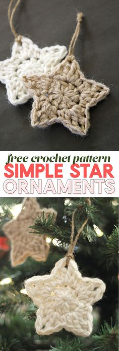 Easy Crochet simple crochet star - christmas ornament - free crochet pattern - These simple Christmas crochet stars are a free pattern that makes a fun and easy holiday project! Crochet Christmas Decorations, Crochet Ornaments, Christmas Diy, Christmas Patterns, Crochet Ornament Patterns, Simple Christmas Gifts, Knit Christmas Ornaments, Crochet Snowflake Pattern, Crochet Christmas Gifts