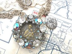 religious necklace rhinestone assemblage pendant by lilyofthevally