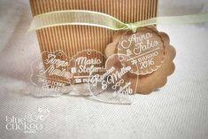 Biglietti per bomboniere del matrimonio in plexiglass trasparente