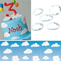 (Set of 5) Fluffy Cloud Plastic Fondant Cutter Cake Mold Fondant Cake Decorating Tools Fondant Sugar craft Cookies Plunger Cutter Mold * Don't get left behind, see this great product offer  : Baking Accessories