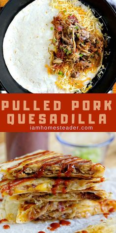 Pork Quesadilla Want some Pulled Pork Recipes? Try this Pulled Pork Quesadilla.This recipe is the perfect sweet and savory appetizer.Want some Pulled Pork Recipes? Try this Pulled Pork Quesadilla.This recipe is the perfect sweet and savory appetizer. Shredded Pork Recipes, Pulled Pork Recipes, Recipes With Pulled Pork Leftovers, Leftover Pulled Pork, Recipe Using Pulled Pork, Recipes With Pork, Shredded Pork Tacos, Healthy Recipes, Mexican Food Recipes